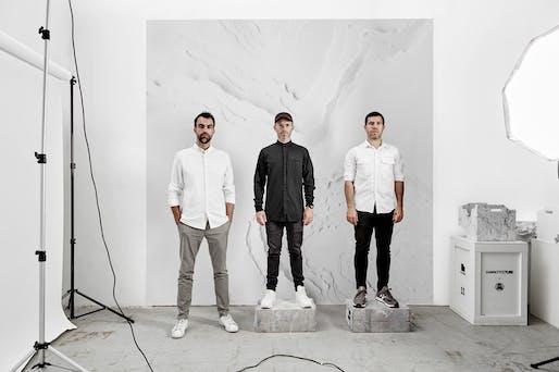 (From L to R) Snarkitecture: Alex Mustonen, Daniel Arsham, and Benjamin Porto. Photo: Noah Kalina.