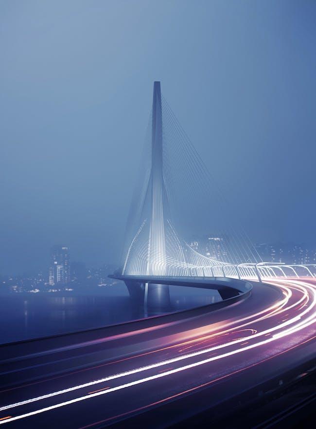Zaha Hadid Architects winning entry for Danjiang Bridge competition