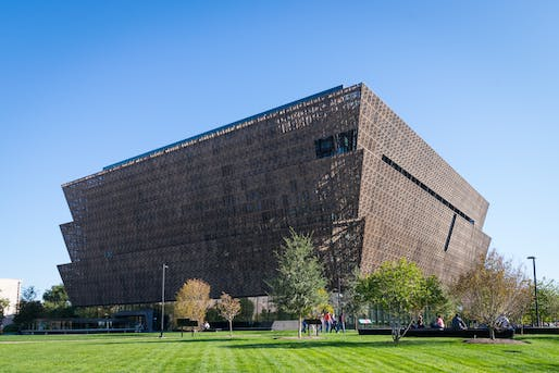 "National Museum of African American History & Culture. <a href =""https://en.m.wikipedia.org/wiki/File:National_Museum_of_African_American_History_and_Culture_2019.jpg"">Wikimedia Commons</a>."