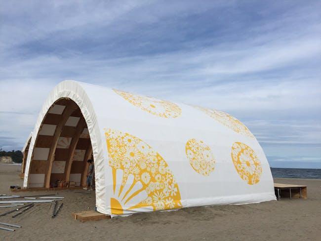 Shichigahama Beach House - finished with printed tarp