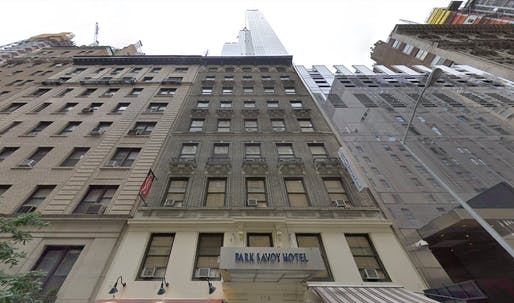 """NYC's planned homeless shelter in the former Park Savoy Hotel backs against the <a href=""""https://archinect.com/news/tag/71438/one57"""">One57</a> luxury condo tower development. Image: Google Street View."""