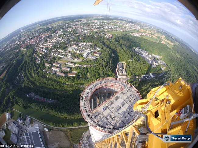 Bird's eye view of the ThyssenKrupp MULTI elevator test tower, which recently topped out. Photo © 2015 ThyssenKrupp Elevator AG.