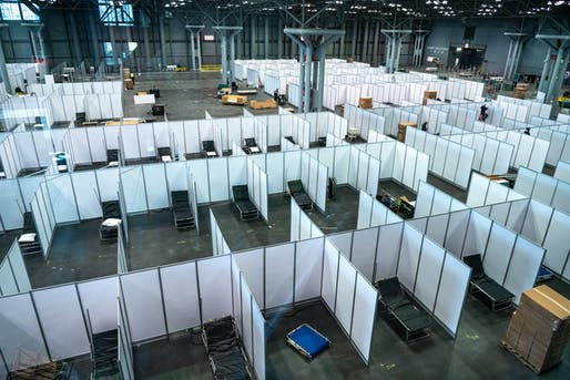 View of the patient area within the adapted Javits Center complex. Photo By: K.C. Wilsey, FEMA.
