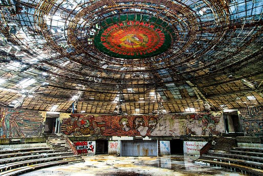 Buzludzha Monument Auditorium. Photo: Stanislav Traykov, via Wikimedia Commons.