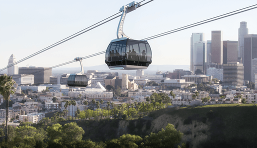 Rendering of the proposed aerial tram system to Dodger Stadium. Image: ARTT LLC.