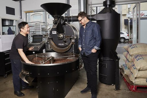 Yeekai and Paul roast at the Cognoscenti Coffee roasting facility in the fashion district in downtown, L.A. Photography by Diana Koenigsberg for Brick & Wonder magazine