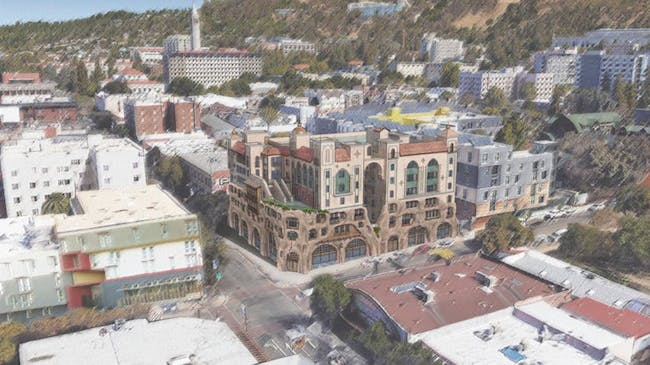 Aerial view of Enclave. Image courtesy of LCA Architects