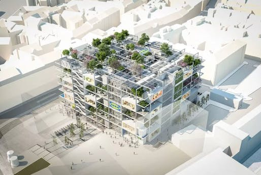 """<a href=""""https://archinect.com/news/article/150179923/new-ikea-store-in-vienna-omits-parking-and-celebrates-nature"""">IKEA store in Vienna</a>. Design by Querkraft. © IKEA"""