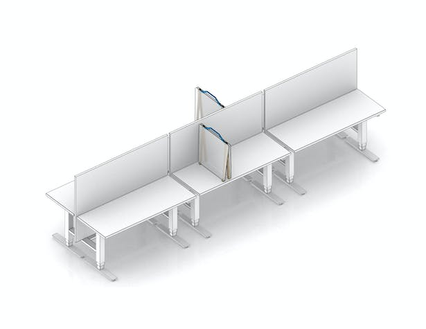split desk partitions with existing panels