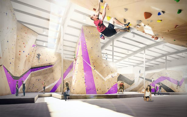 The Crux Climbing Center will be a premiere climbing & fitness facility and local hangout - complete with plenty of sunshine and 30' walls.