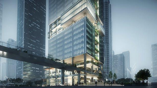 Shenzhen Transsion Tower, link bridge, Image by Aedas