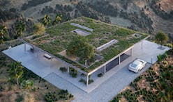 An impossibly thin Chaparral roof tops this California Brutalist home