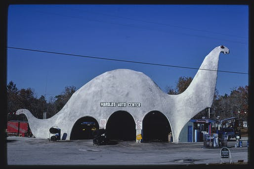 "Harold's Auto Center, Sinclair gas station, Route 19"" (1979), taken in Spring Hill, Florida."