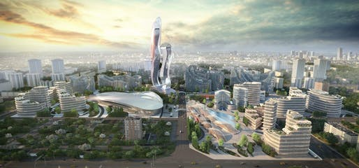 A rendering of the forthcoming Akon City in Senegal. Image courtesy of Hussein Bakri/BAD Consultant/Semer Group.