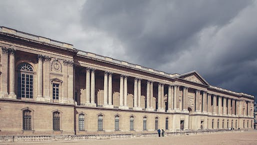 """View of the Louvre Museum in Paris. Image courtesy of <a href=""""https://commons.wikimedia.org/wiki/File:East_facade_of_Louvre,_Paris_September_2013.jpg"""">Photovia Wikimedia user Cristian Bortes</a>"""