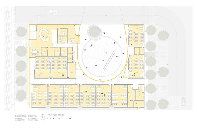 First floor plan. Image courtesy of Brooks + Scarpa.