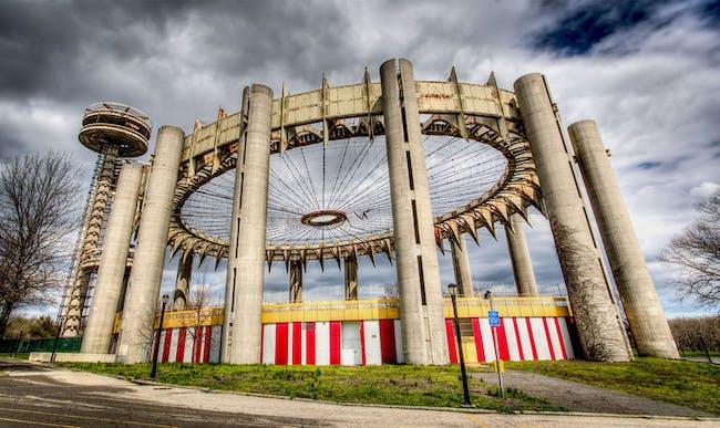 The New York State Pavilion in the present day. Photo: Marco Catini, via 'Modern Ruin' Kickstarter