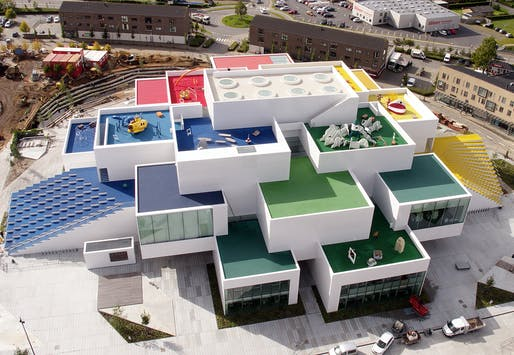 Drone's-eye view (sorry birds) of Billund's newest attraction: LEGO House.