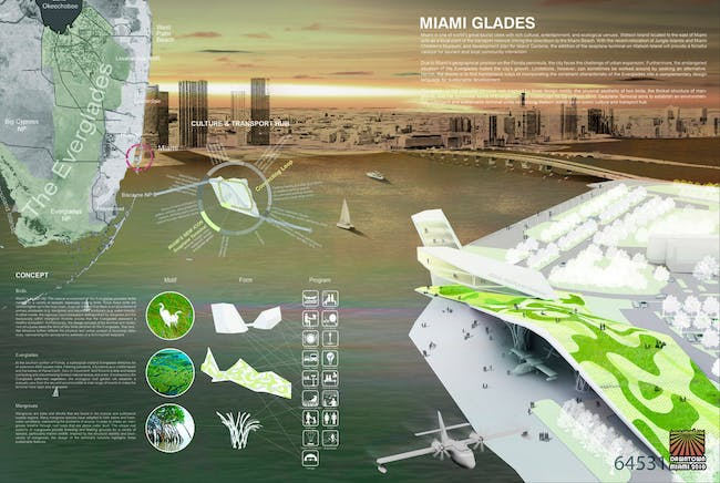 "Winner of the 2010 Seaplane Terminal competition: Team ""CA Landscape"", including Trevor Curtis and Sylvia Kim, from Seoul, South Korea, with its design entitled ""Miami Glades"""