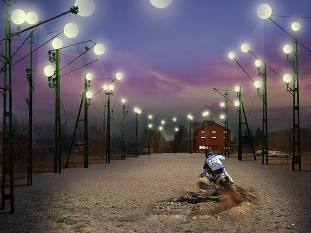 proposed event space surrounded by 30 reused electric posts from the abandoned rail way.