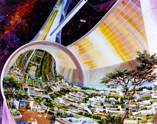 Toroidal Colonies by Rick Guidice. Cutaway view, exposing the interior. Courtesy NASA Ames Research Center