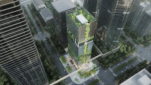 Shenzhen Transsion Tower, Green Spaces, Image by Aedas