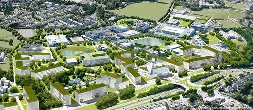 Aerial view of University College Dublin masterplan. Image © Steven Holl Architects.