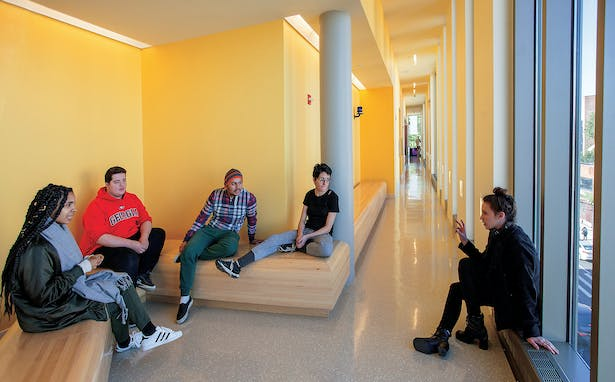 Ledges, nooks and benches throughout the building encourage hanging out. Photo: Brooklyn College
