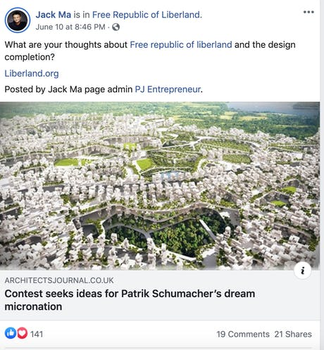 #JackMa #Alibaba sharing a post about #Liberland Design Competition! The article has RAW-NYC Architects Live and Let Live team winning design for 2015 Liberland Design Competition! #rayaani #rawnycarchitects #passiontoEmpower #influentialArchitects #LiberlandCompetition #Architectsvision #ArchitectureInnovation