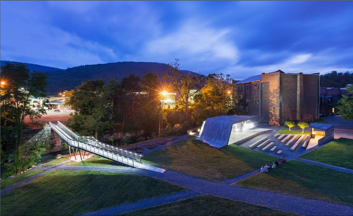Two projects completed by students in the Design/Build lab; a pedestrian bridge and an amphitheater in Clifton Forge, Va.