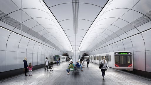 Fornebu Senter Station Platforms. Rendering: VA.