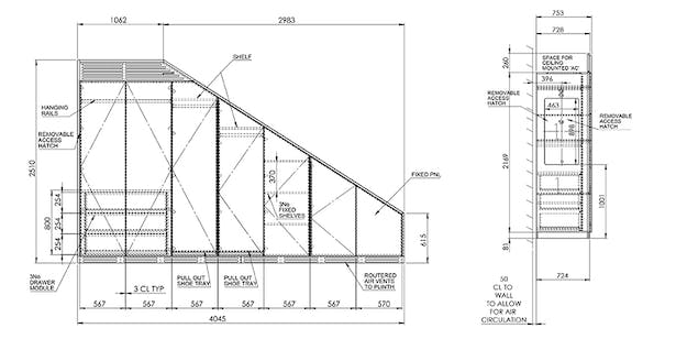 Wooden wardrobe millwork drawing with standard millwork details using AutoCAD