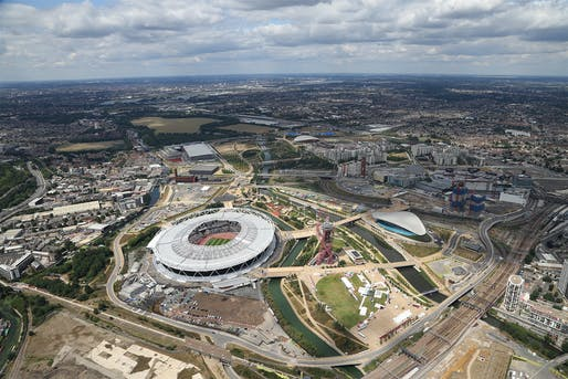 Aerial view of Queen Elizabeth Olympic Park in London where the new V&A Collection and Research Centre will be build on a plot near the ZHA-designed London Aquatics Centre. Photo: LLDC, courtesy of Queen Elizabeth Olympic Park.