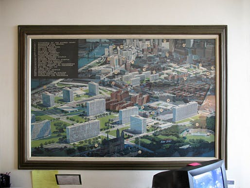 Mies' vision of Newark in a painting at the leasing office at the Colonnade. Still from 'Colonnade Park'