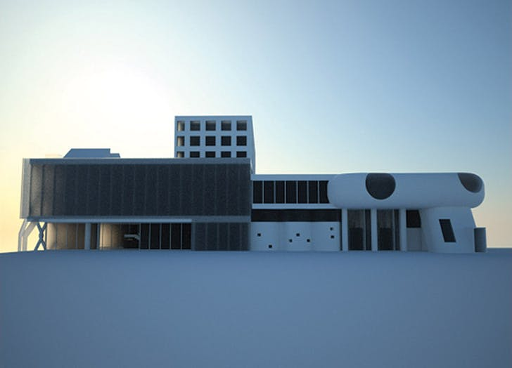 Rear Elevation. Mixture of parts: Corbusier, Mies, Classical, Mushroom, Translucency, Beineke