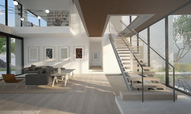 View up the stair to the second floor. Above is the bridge between the two bedroom wings and the private office.