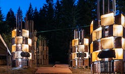 PSU architecture students create new Pickathon Treeline Stage from 160 wooden apple bins
