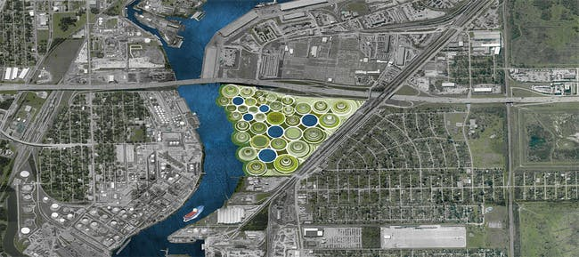 Located just east of the I-610 belt, the site of the proposal fi nds itself at the confl uence of the urban, the suburban, and the industrial. Continually growing towers of remediation make up the new development. Vegetation covers the earthy material held within the lock, a new type of containment in an area already very familiar with petrochemical storage.