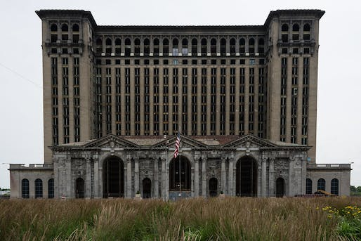 "Nearly windowless and surrounded by razor wire, the Michigan Central Station in 2013. Photo: Johnathan Nightingale/<a href=""https://www.flickr.com/photos/johnath/9203442503"">Flickr</a>."