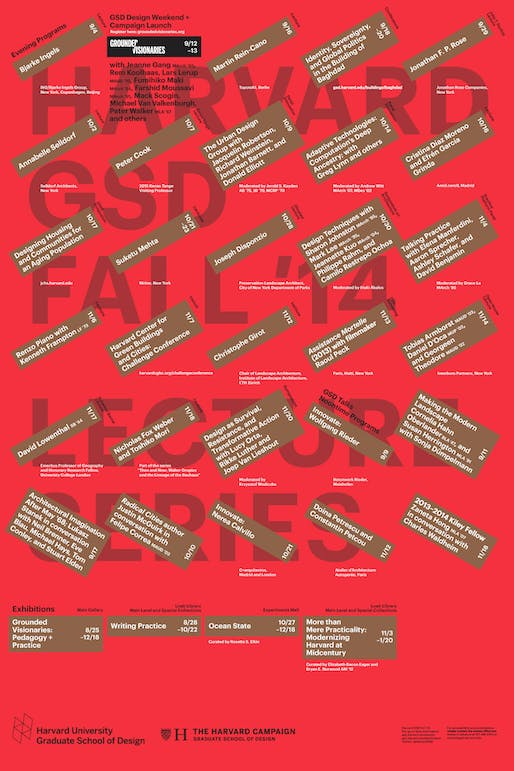 Harvard Graduate School of Design Fall 2014 lecture events. Poster designed by Bruce Mau Design. Image via gsd.harvard.edu.