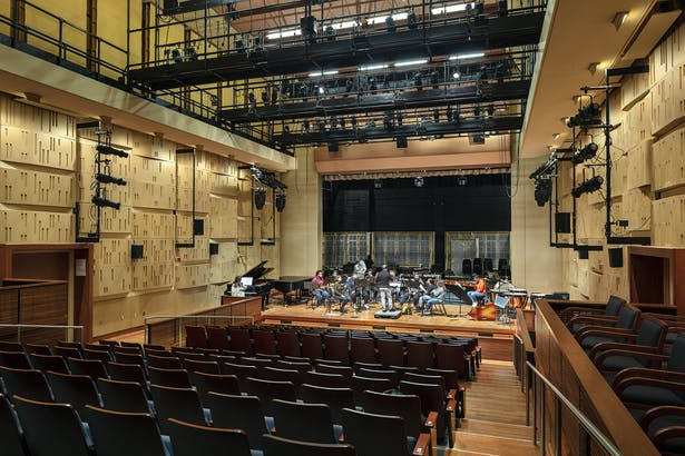 The multipurpose theater in theater mode, with the orchestra shell up.