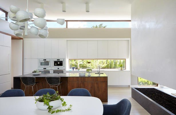 Kitchen with walnut + honed basaltina island; floating plaster fireplace to the right. Joshua McHugh Photography