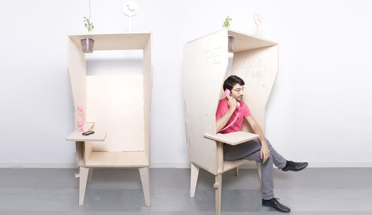 The 'Wiki Booth' is a hybrid telephone and solo working booth. Images courtesy Opendesk.
