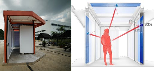 """The """"Cold Tube"""" pavilion (left) during tests in Singapore in January 2019. The structure is able to provide a cool and comfortable outdoor space through the use of radiant cooling (right). (Image credit: photograph: Lea Ruefenacht; diagram: Dorit Aviv and Jiewei Li)"""