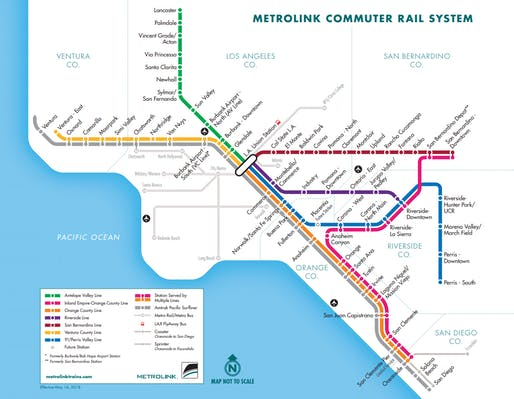 View of Metrolink's existing regional commuter rail network. Image courtesy of Metrolink.