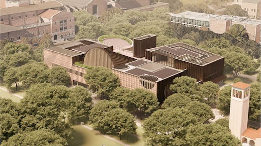 Rendering of Adjaye Associates' design for the new Rice University student center. Image: Adjaye Associates.
