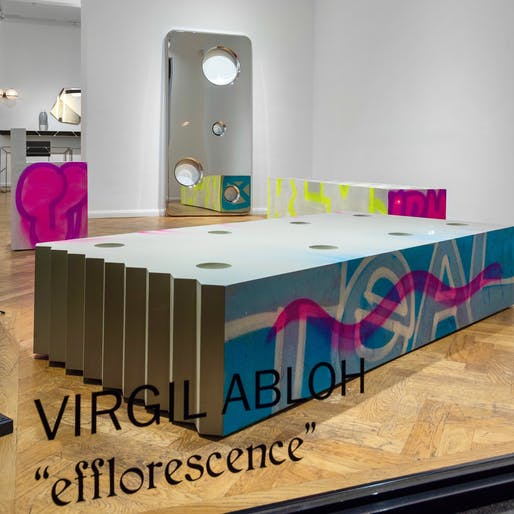 "Virgil Abloh's ""Efflorescence"" show on display in London. Image courtesy of Galerie kreo via/Twitter"