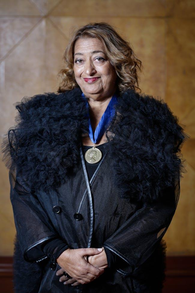 Zaha Hadid wearing the Royal Gold Medal