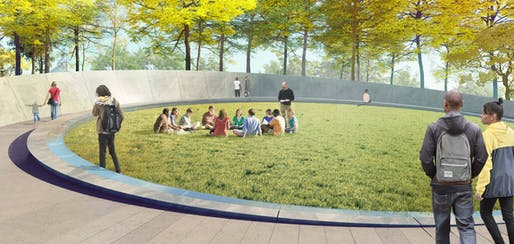 Rendering of the Memorial to Enslaved Laborers. Image courtesy of Höweler+Yoon.