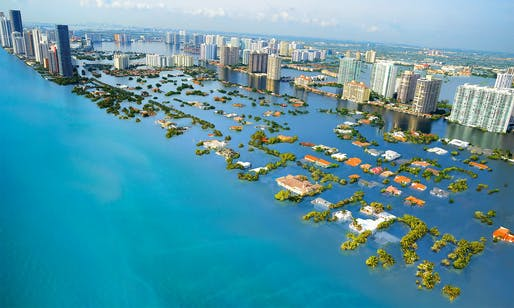 Simulated view of South Beach, Miami if global temperatures rise by 2 degrees Celcius. Image: Nickolay Lamm, courtesy of Climate Central/sealevel.climatecentral.org